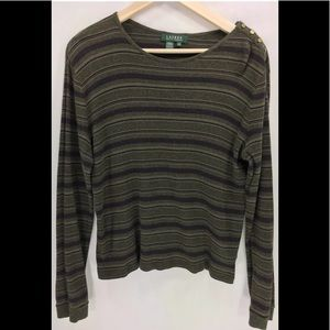 RALPH LAUREN KNIT STRIPED BLOUSE TOP SIZE-XL